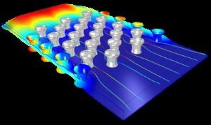 Simulación de una celda de flujo con superficies activas. Imagen cortesía de COMSOL, realizada utilizando COMSOL Multiphysics®