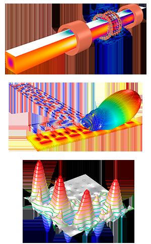 Ejemplos de modelado electromagnético con AC/DC, RF y Wave Optics (de arriba hacia abajo)