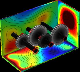 Modelo de un tren de engranajes compuesto realizado con COMSOL Multiphysics