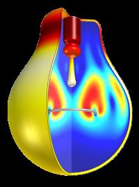 Modelo de convección libre en una bombilla que también explica la conducción y radiación