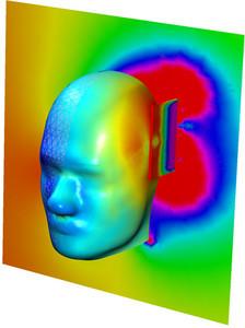 Modelo de la radiación absorbida por el cerebro humano realizado con COMSOL Multiphysics