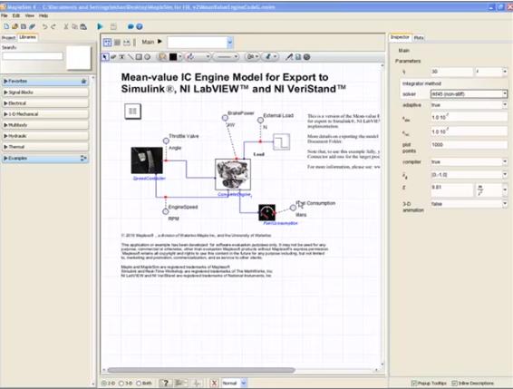 Modelo de motor de combustión interna (IC) de valor medio
