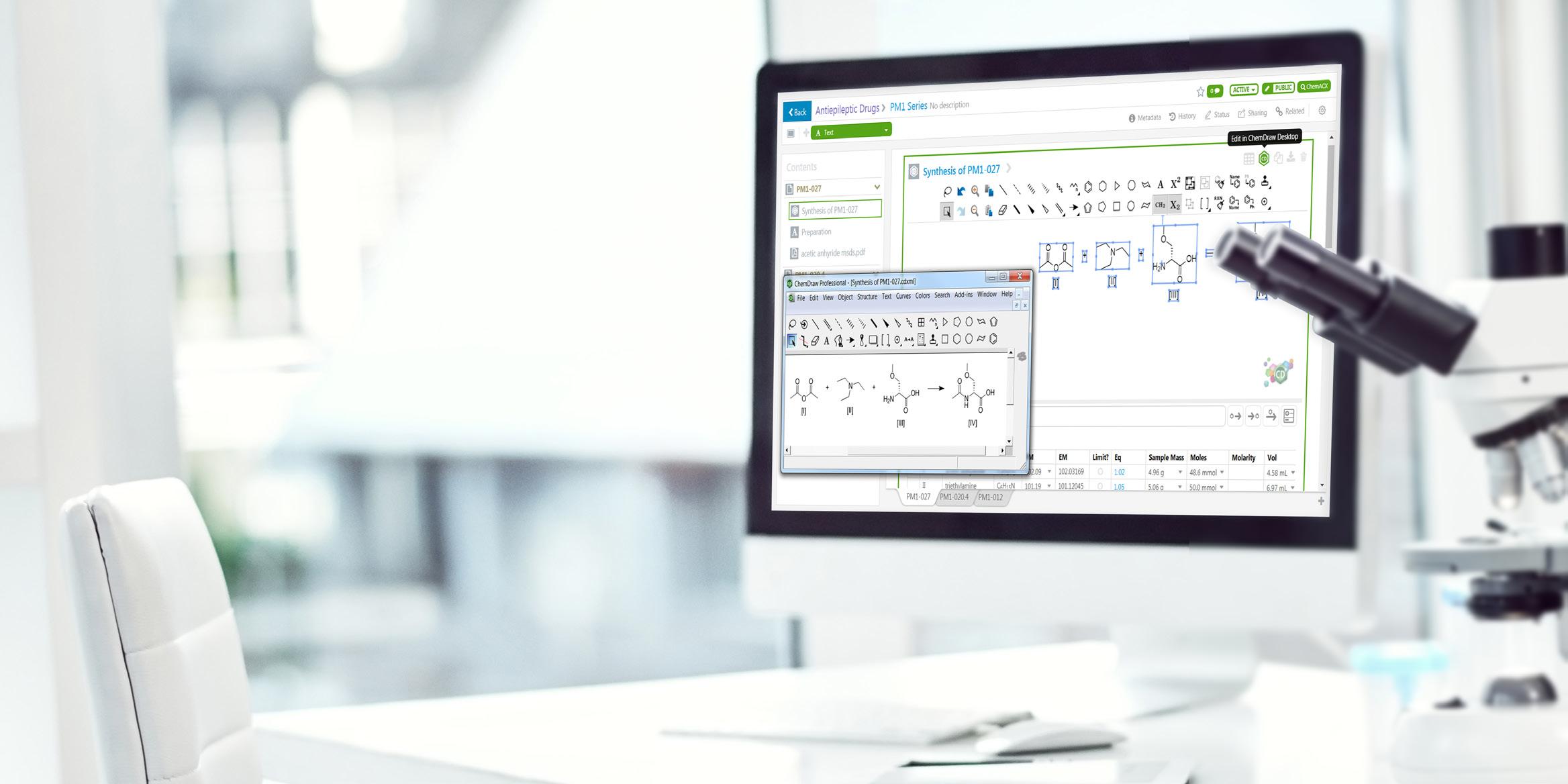 Conozca los beneficios de la unión de ChemDraw con Signals Notebook