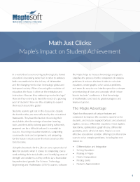 Math Just Clicks: Maple's Impact on Student Achievement
