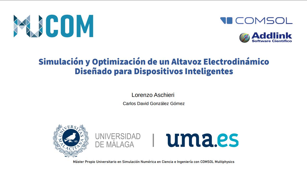 Simulación y Optimización de un Altavoz Electrodinámico Diseñado para Dispositivos Inteligentes. (23 de septiembre de 2020)